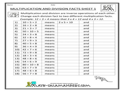 free printable worksheets on division facts multiplication and division facts worksheet free