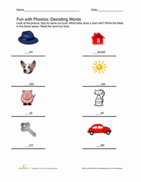 Decoding Words Worksheets by Decoding Words Worksheet Education