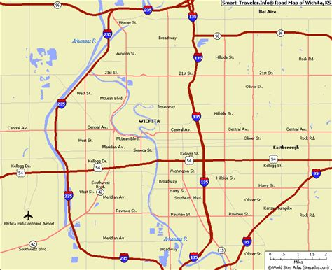Wichita Kansas Records Map Of Wichita Kansas Travelsmaps 174