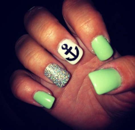 summer acrylic nail designs with anchor summer nails anchor nails pinterest