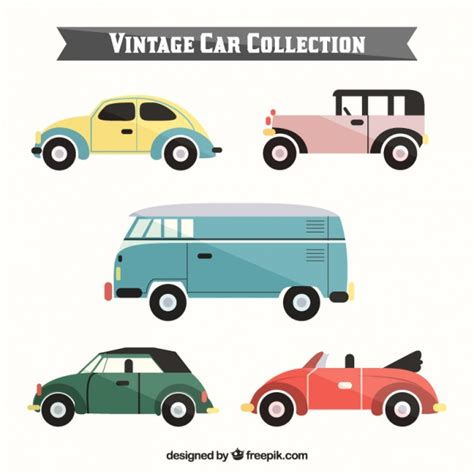car layout vector set of stylish retro cars in flat design vector free