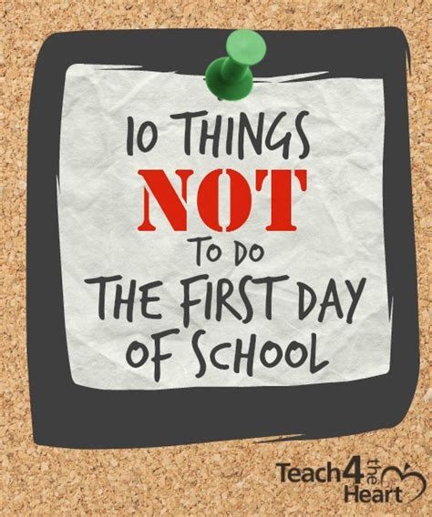 10 Things Not To Do What Not To Do The Day Of School