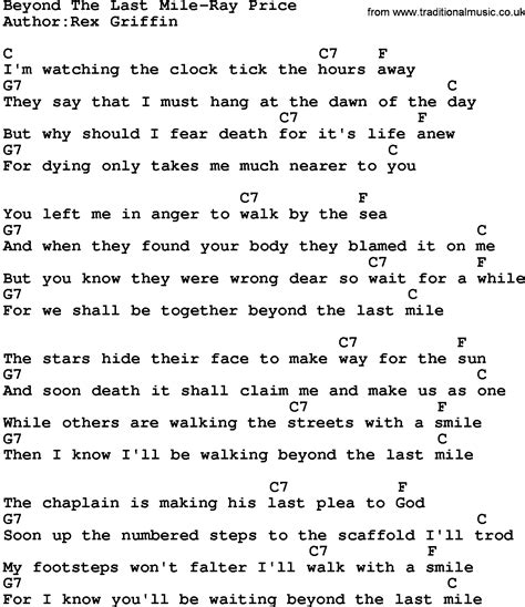country beyond the last mile price lyrics and chords