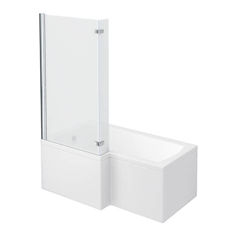 l shaped shower bath with hinged screen milan shower bath 1500mm l shaped with hinged screen