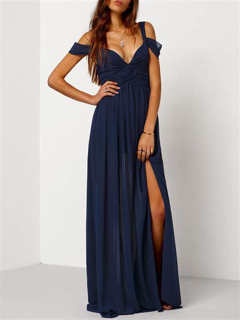 navy the shoulder maxi dress