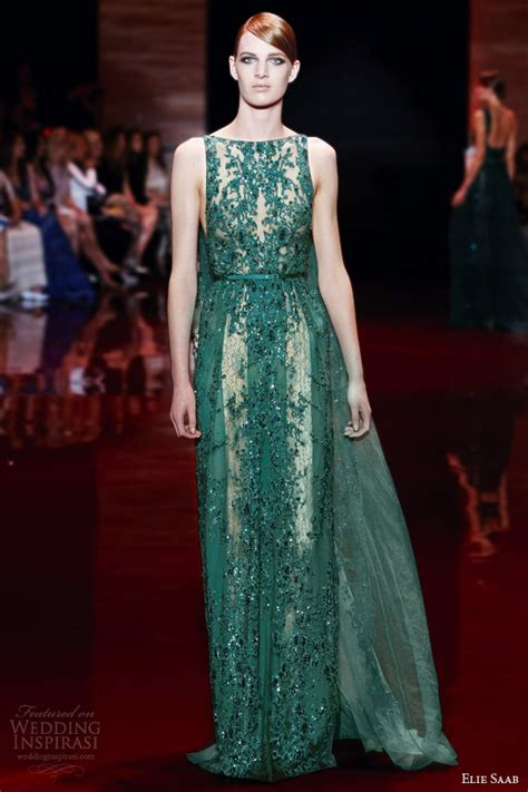 One Shoulder Drape Sleeve Dress Elie Saab Fall Winter 2013 2014 Couture Collection
