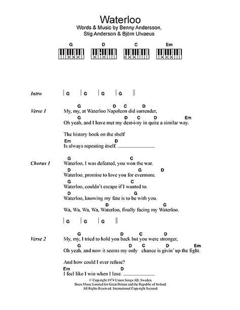 lyrics and piano chords waterloo sheet by abba lyrics piano chords 109993