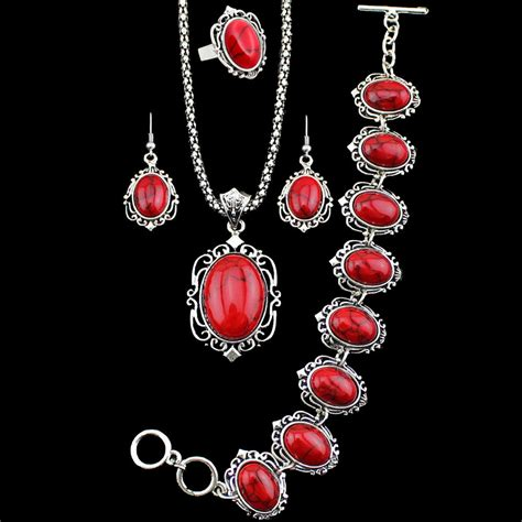 ebay earrings red turquoise necklace bracelet earrings ring jewelry sets