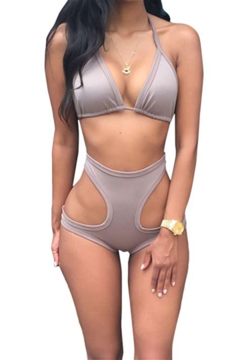 Grey Halter Set Topskirt Size S gray halter top high waisted cut out