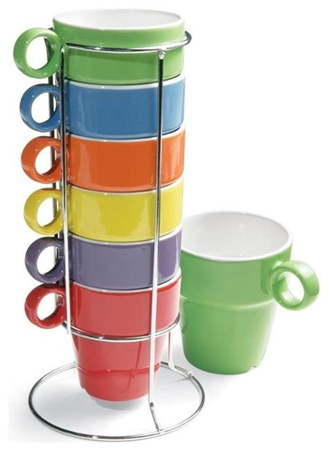 7 Piece Stacking Rainbow Mug and Stand Set   Contemporary   Mugs   by Amazon