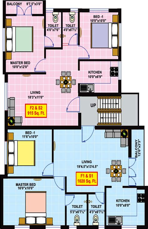 emerald park floor plan 1020 sq ft 2 bhk 2t apartment for sale in vikaan shelters