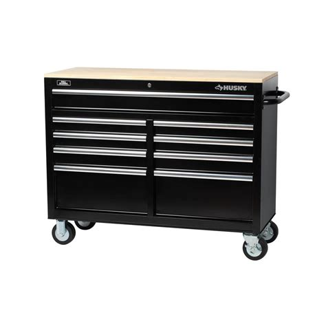 Husky 46 in. 9 Drawer Mobile Workbench with Solid Wood Top, Black 7440946R   The Home Depot