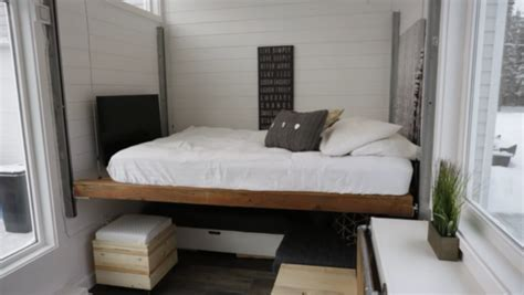 ana whites open concept modern tiny house  elevator bed