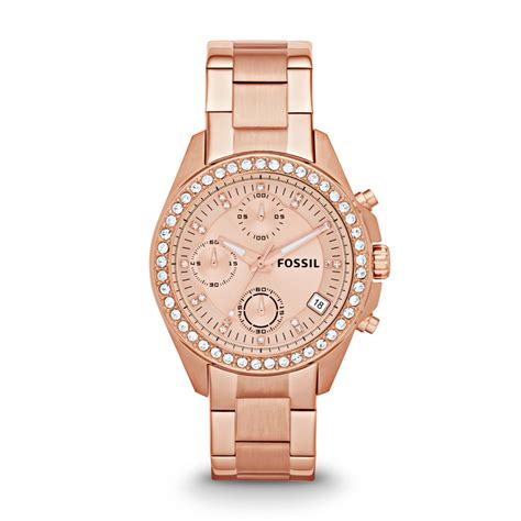 Fossil Kulit Rosegold decker chronograph stainless steel es3352 fossil 174 uk