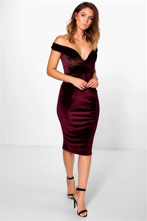 boohoo elouise velvet shoulder bodycon dress lyst
