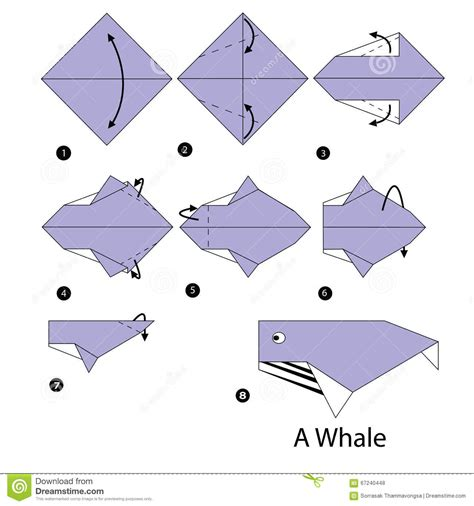 How To Make An Origami Whale - step by step how to make origami whale stock