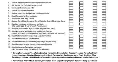 checklist 5 checklist borang kahwin r a i k a n c i n t a