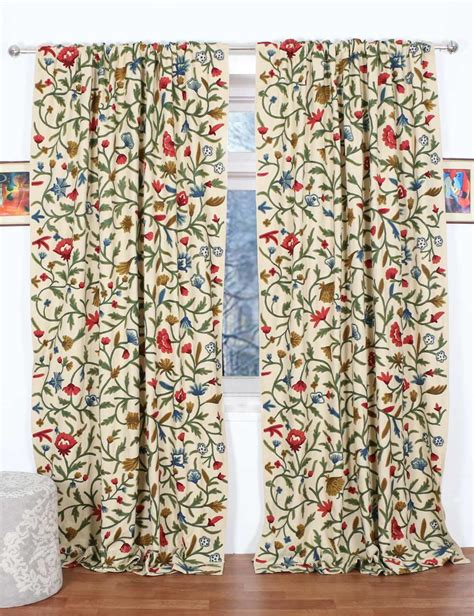 crewel curtain fabric wular crewel curtain panels and drapes hand embroidered