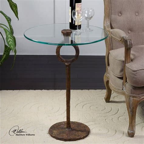 diogo cast iron base glass top accent table 24336 uttermost diogo glass accent table in oxidized cast iron