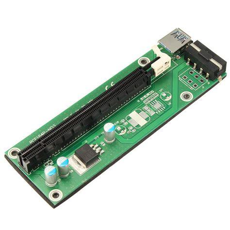 Pci Express Pcie 1x To 16x Extension Versi 006 1 pci express pci e 1x 16x extender riser card usb 3 0 sata 15p cable adapter si ebay
