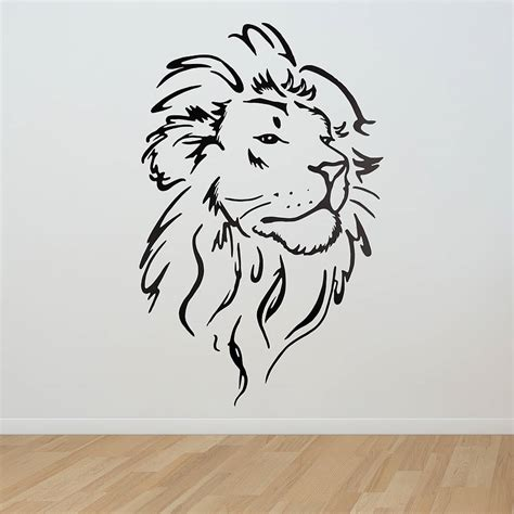 design art simple lion head wall sticker wall sticker lions and walls
