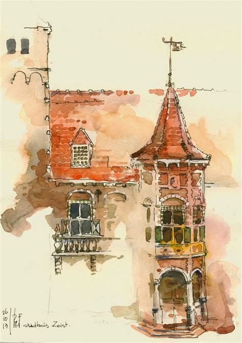 urban watercolor sketching a zeist the netherlands urban sketchers