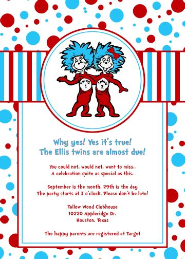 thing 1 and thing 2 baby shower invitations dr seuss thing one and thing two baby shower
