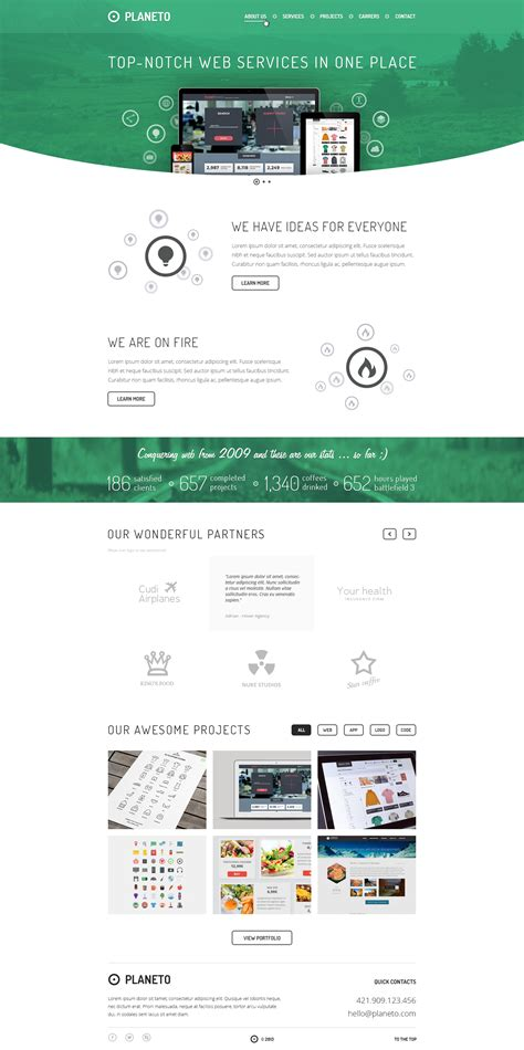 planeto website template psd creative beacon