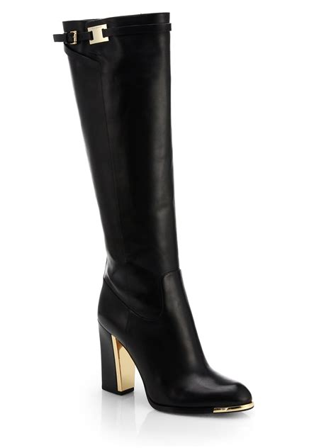 michael kors julie leather knee high boots in black lyst