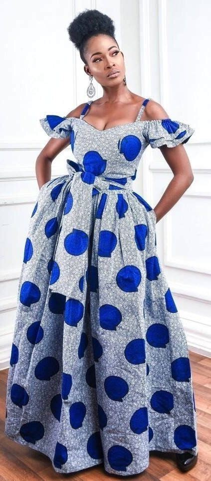 blue ankara maxi dress robe africaine mode africaine robe