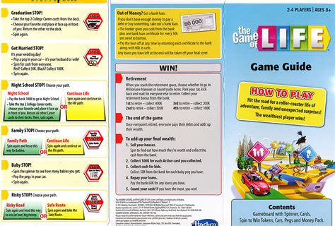 printable board games with instructions the rules of life