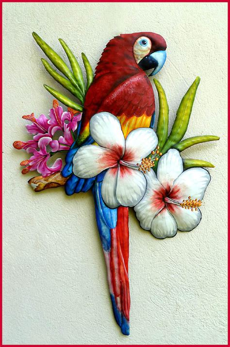 parrot wall decor scarlet macaw metal wall painted metal parrot wall