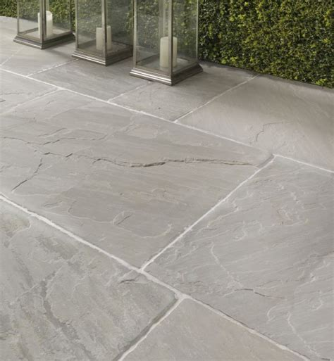 salcombe sandstone in a seasoned finish patio tiles with soft pale and grey tones landscapes