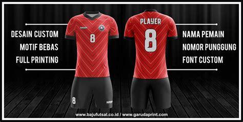 desain baju futsal warna merah pembuatan baju futsal dengan desain garis garis garuda print