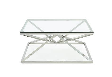 Modern Square Glass Coffee Table Modrest Xander Modern Square Glass Coffee Table