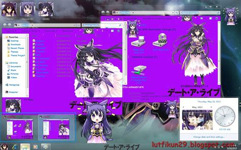 download theme windows 7 yatogami tohka theme date a live v1 tohka yatogami windows 7 takamina12