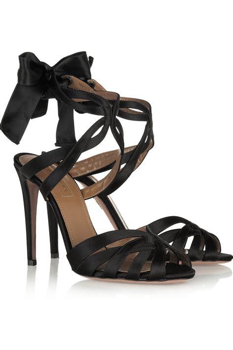 aquazzura charlotte satin sandals  black lyst