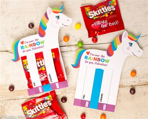 Skittles Birthday Card Rainbow Unicorn Valentines Printable Diy Instant Download