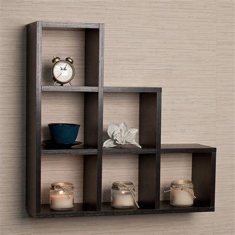 decorative wall shelves with hooks danya b black stepped 6 cubby decorative wall shelf wall