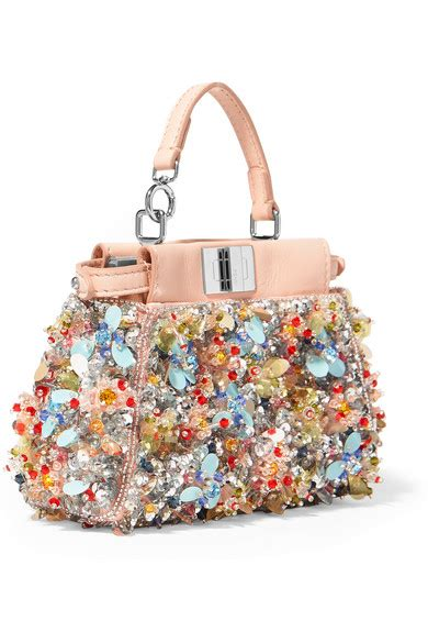 Fendi To You Embellished Convertible Bag by Fendi Peekaboo Micro Embellished Satin Twill Shoulder