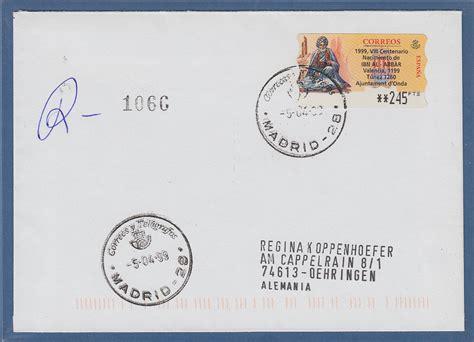 Brief Schweiz Nach Spanien Spanien Atm Ibn Al Abbar Hoher Wert 245 Auf Gel R Brief Nach Deutschland 183 Tilman Dohren