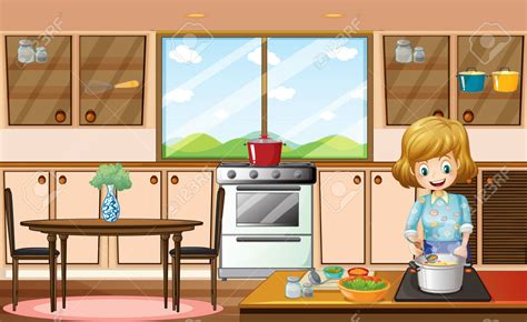 Dining Room Kitchen Ideas by Lady Cooking In Kitchen Clipart Clipartxtras