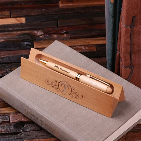 engraved desk name plates with business card holder engraved wood pen and desk name plate with card holder