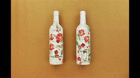 tutorial decoupage botol how to make a decoupage bottles with easy crackles fast
