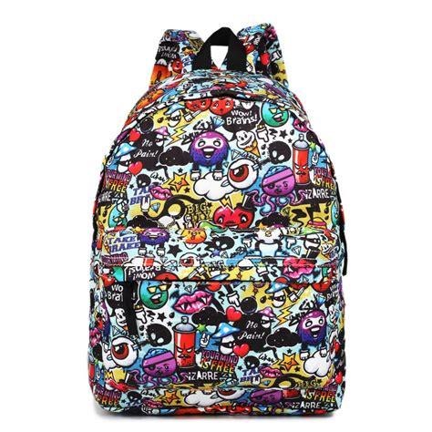 ecg  lulu large backpack cartoon graffiti
