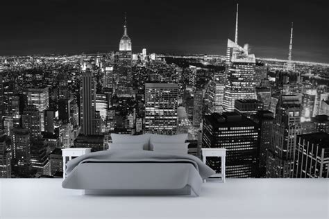 new york skyline bedroom ideas panoramic new york wall mural ideas in bedroom design with