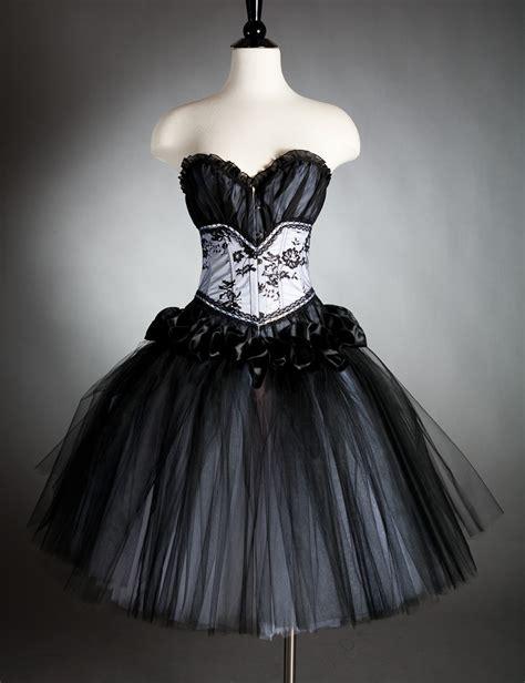 Tutu Gotik Prewalker Size 0 12bln size small black and white burlesque corset dress costume