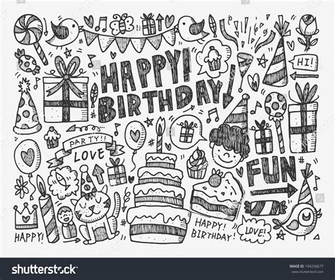 sign up for doodle account doodle birthday background stock vector 194256677