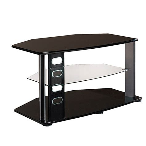 40 Inch High Bookshelf Haropa 40 In Tv Stand With Glass Middle Shelf Black Hpobg144