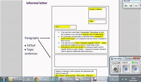 layout of a formal letter gcse informal letter youtube